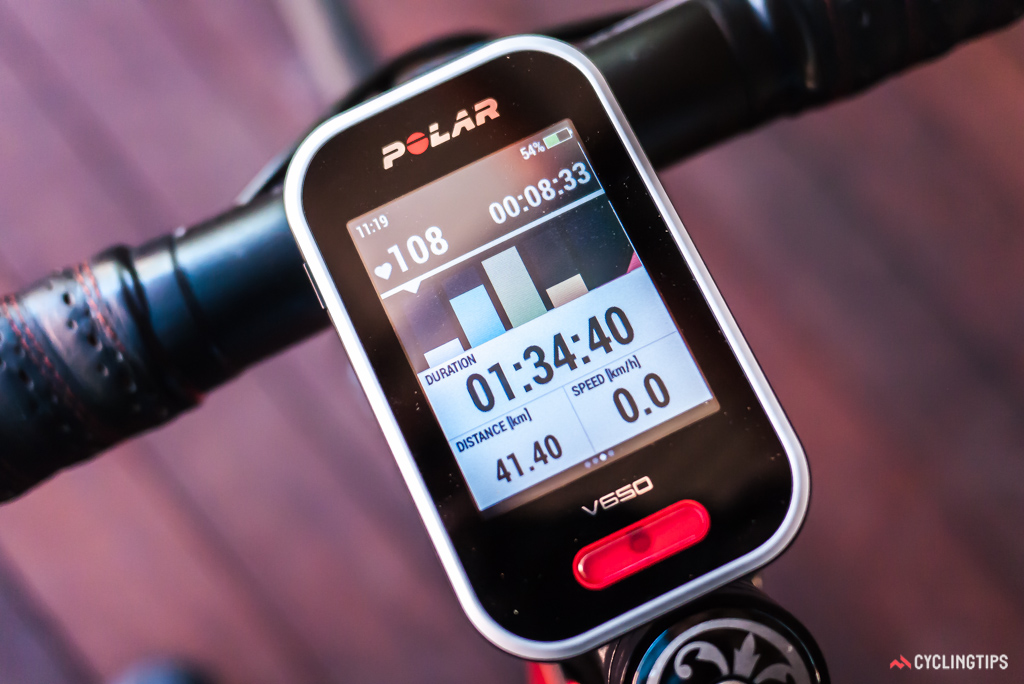 Polar has developed a real-time column graph to display the amount of time spent in each of five heartrate zones