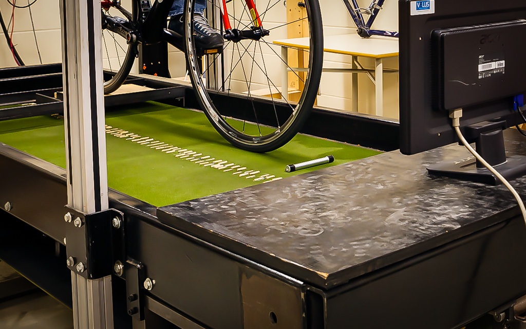 A closer look at the terrain that is added to the treadmill for impact testing at VÉLUS.