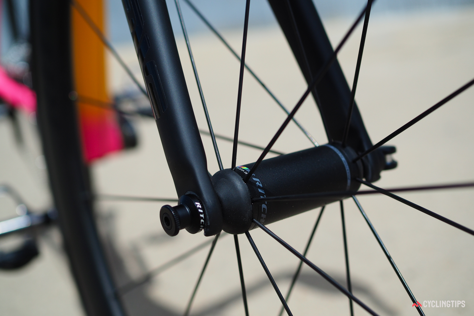 Ritchey's Phantom Flange hub design uses standard J-bend spokes but with the clean aesthetics of a straight-pull setup.