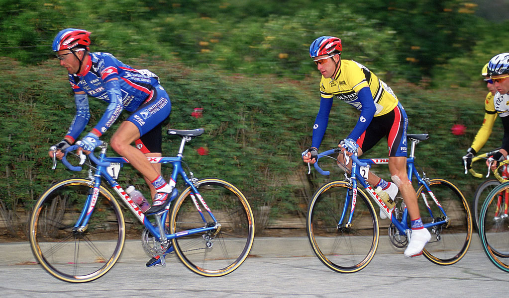 Jonathan Vaughters leads Christian Vande Velde on the Sunset Loop, 1999 Redlands Classic. Photo: Casey B. Gibson.