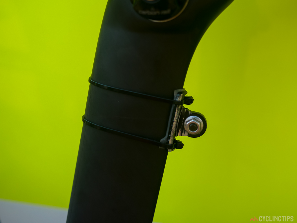 It's not all high tech on the new Specialized venge, zip ties hold the race number mount in place.