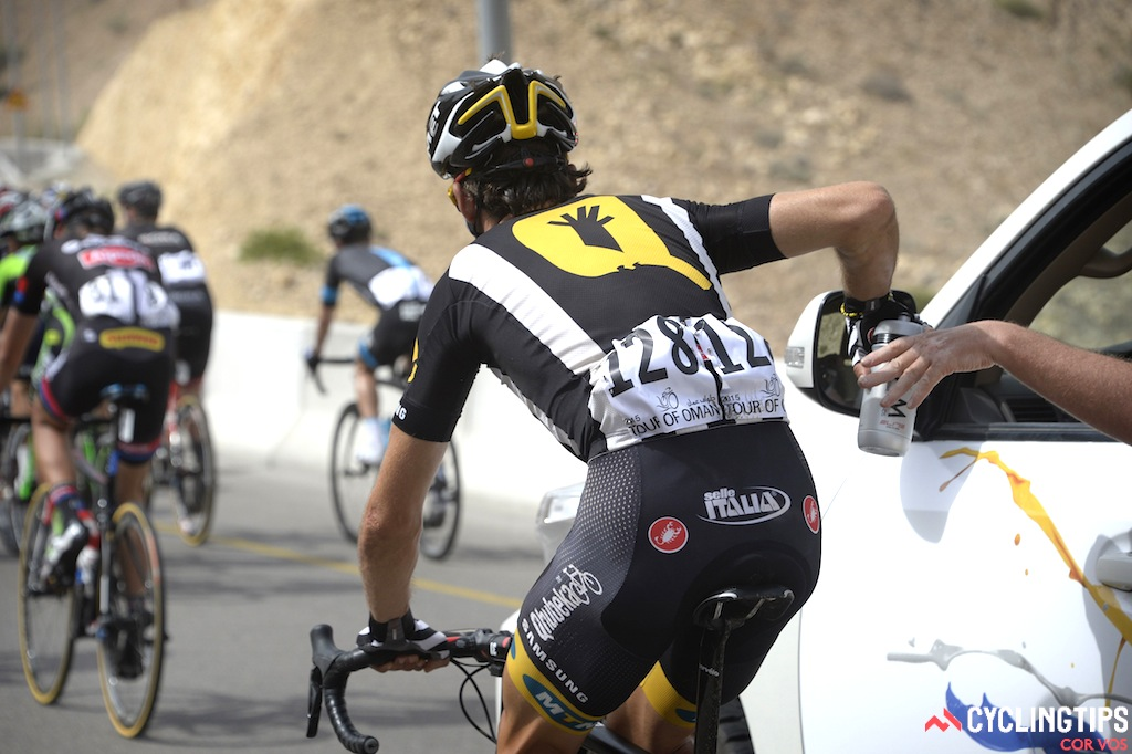 MTN-Qhubeka's Venter Jaco wearing the team's Castelli-made kit; a new design for 2015.