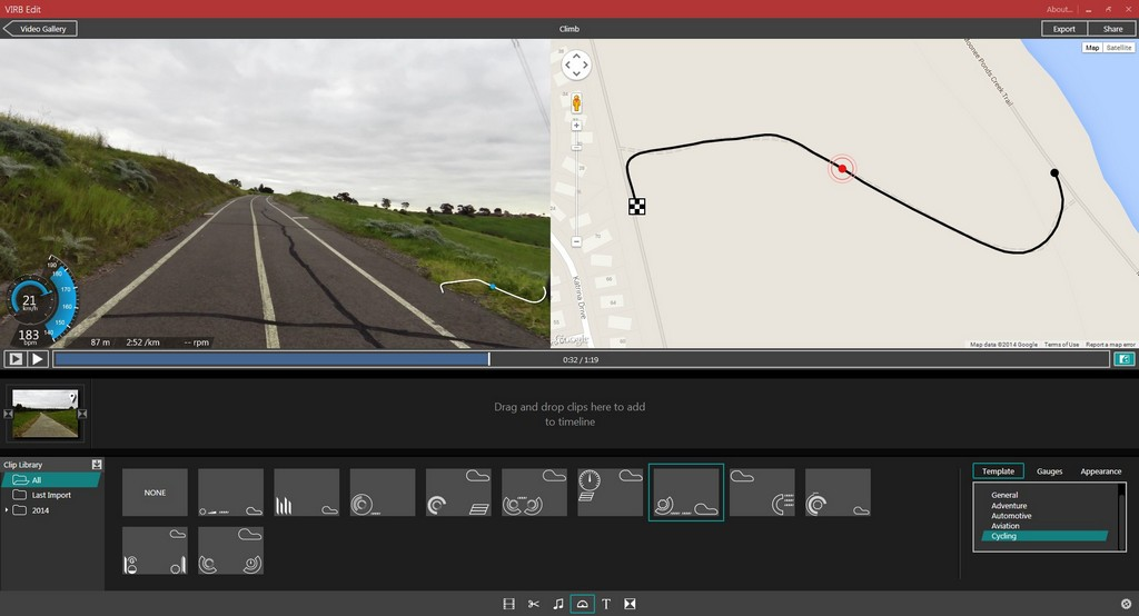 Adding data to a Virb video in Virb Edit.