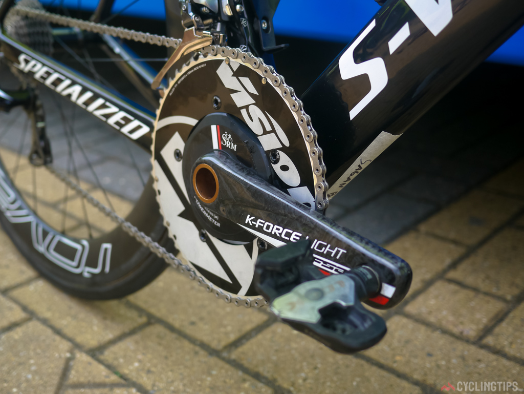 As if the frameset isn't aero enough, a Vision aero chain ring is thrown in to the mix to keep things super slippery.