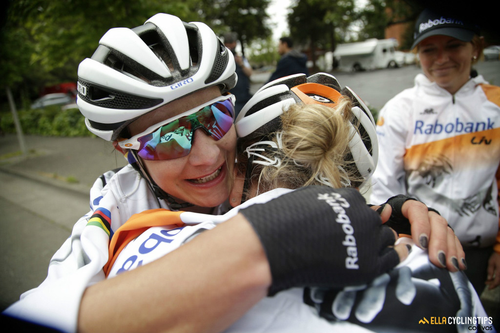Marianne Vos celebrates her win with teammate Shara Gillow.