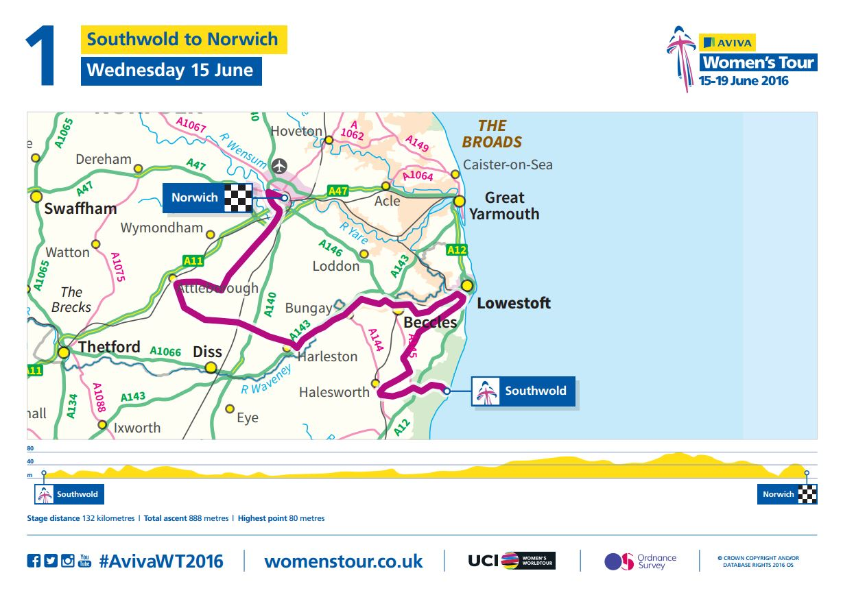 Aviva Women's Tour 2016 stage 1 course map