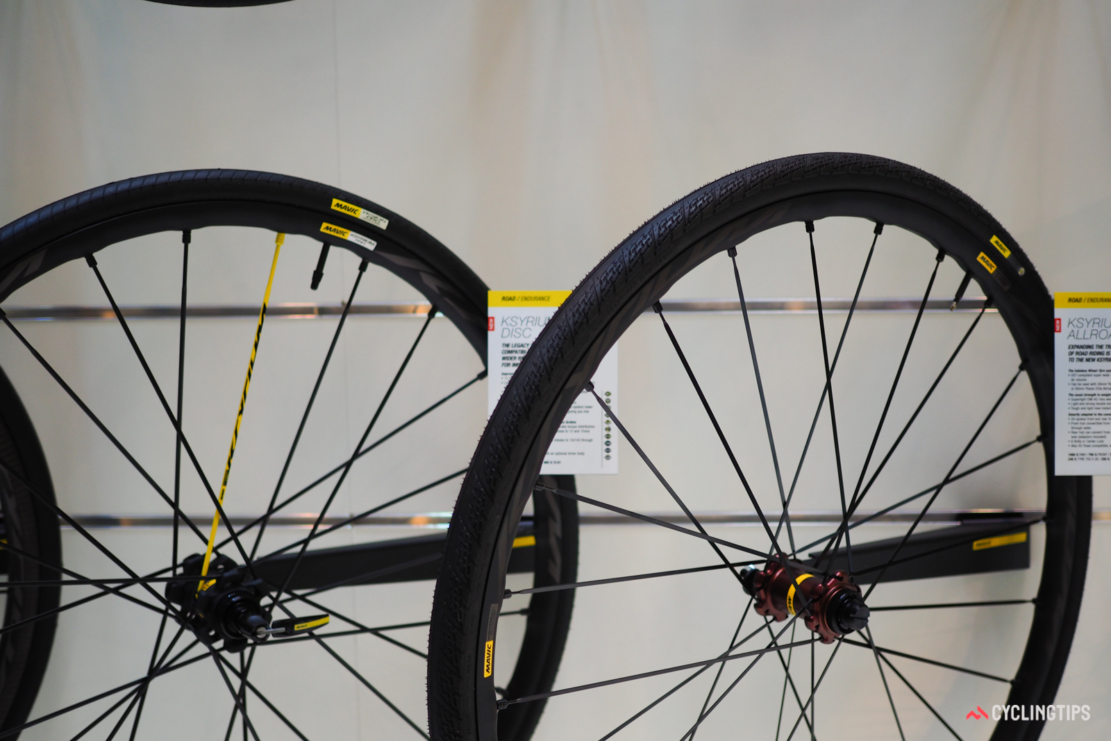 Mavic's shift away from traditional 15mm-wide road rims started with the 19mm-wide Ksyrium Pro Allroad Disc, which now has a lower-priced cousin in the Ksyrium Elite Allroad Disc (right).