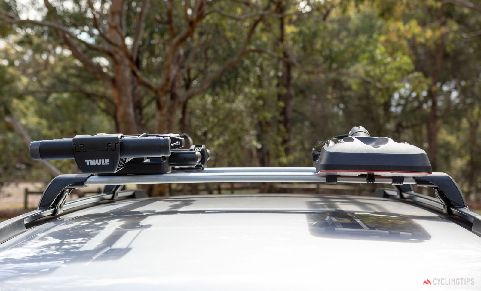 Yakima HighRoad versus Thule UpRide bike carrier review front on perspective