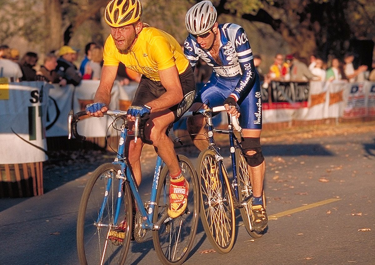 Bill Elliston and Adam Myerson at the 1999 U.S. National Cyclocross Championship, held in the Presidio of San Francisco.