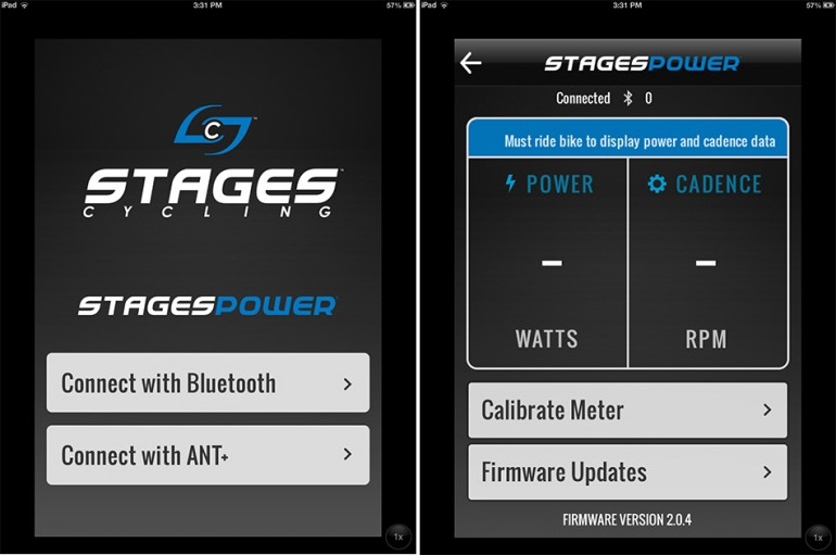 Screenshots from the Stages Power iOS app.