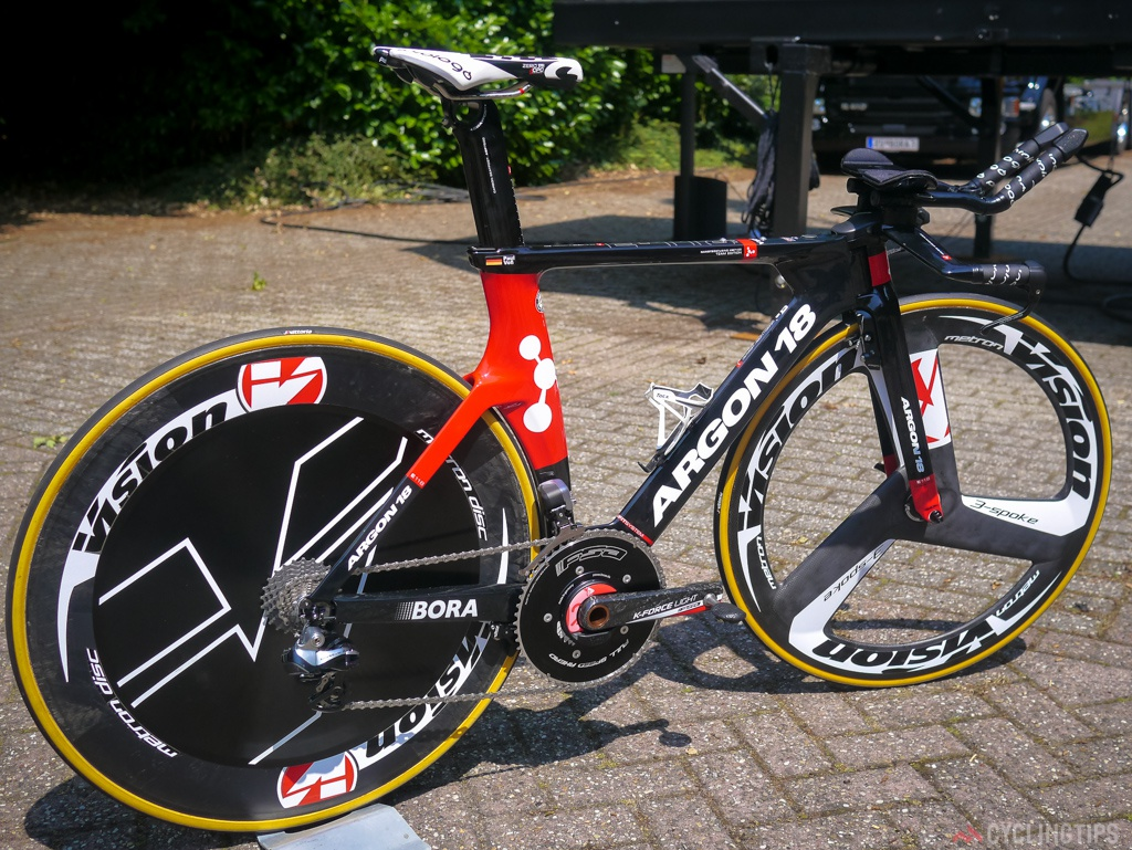For Argon 18 it's the first time they have had bikes being raced on at the Tour. The TT model is the E-118 Next. Kitted out with Visions tri and disc wheel combo plus Dura Ace Di2 and FSA finishing kit.