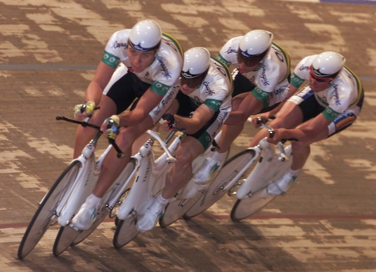 The Australian team (from left to right: Brett Aitken , Greame Brown, Nigel Grigg and Brett Lancaster) in action during the team pursuit qualifying at the World Track Cycling Championships in Berlin on October 21 1999.