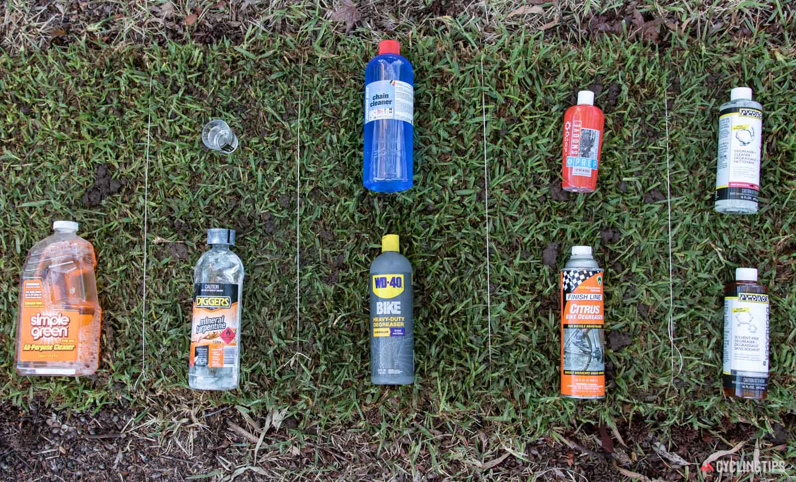Bicycle degreaser on grass test