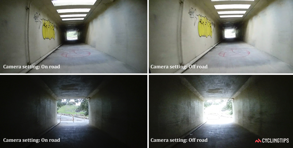 Comparison of the influence of the two scene modes on the exposure for dim (upper panels) and bright (lower panels) lighting conditions.