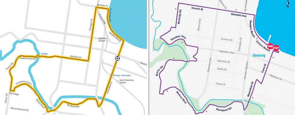 Left: the finishing circuit used in the 2010 Road World Championships. Right: the finishing circuit to be used in the 2015 Cadel Evans Great Ocean Road Race.