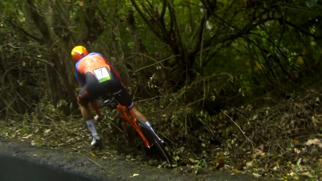 A race turning moment:  Ellen van Dijk slips into the gutter and loses precious seconds trying to get going again.