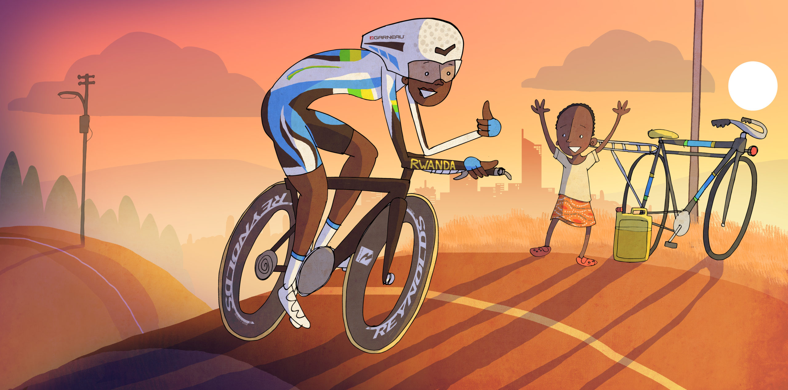Artwork made in honour of Girubuntu's appearance at the UCI Road World Championships. Courtesy of Ben Scruton.
