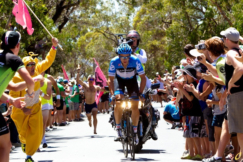 Nathan Haas leading the charge up Willunga Hill on stage 5 of the 2012 Tour Down Under
