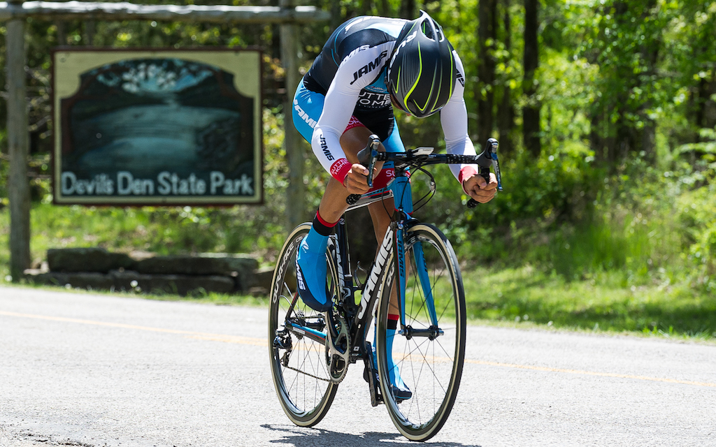 Colombian Janier Acevedo (Jamis-Sutter Home), as he left Devil's Den State Park on his way to take the stage win and leader's jersey on Stage 1. Photo: Dejan Smaic.