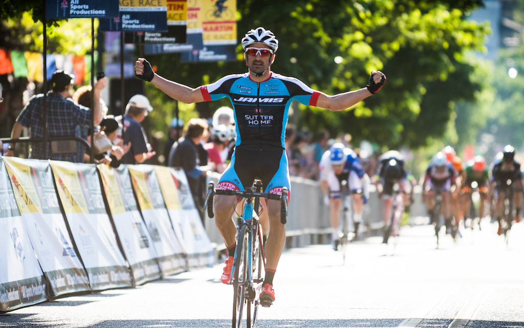Sebastian Haedo (Jamis-Sutter Home) took the Stage 2 win after a long day in the break, which was reeled in before the finish. Photo: Dejan Smaic.