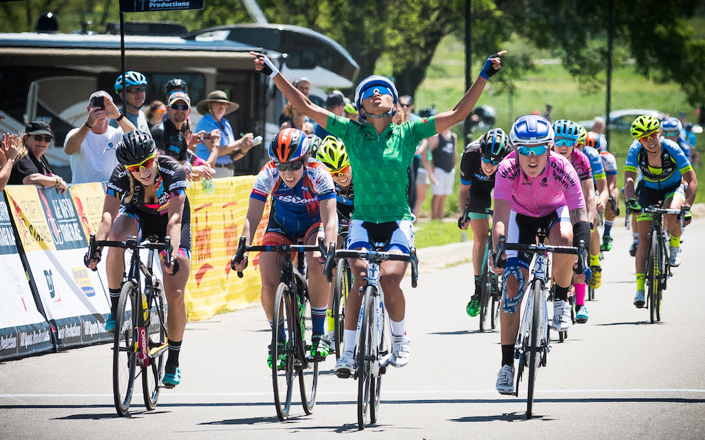 Coryn Rivera (UnitedHealthcare) took a hotly contested sprint for Stage 3 sprint win, with Samantha Schneider (ISCorp) in second, and race leader Linda Villumsen (UnitedHealthcare) in third. Photo: Dejan Smaic.