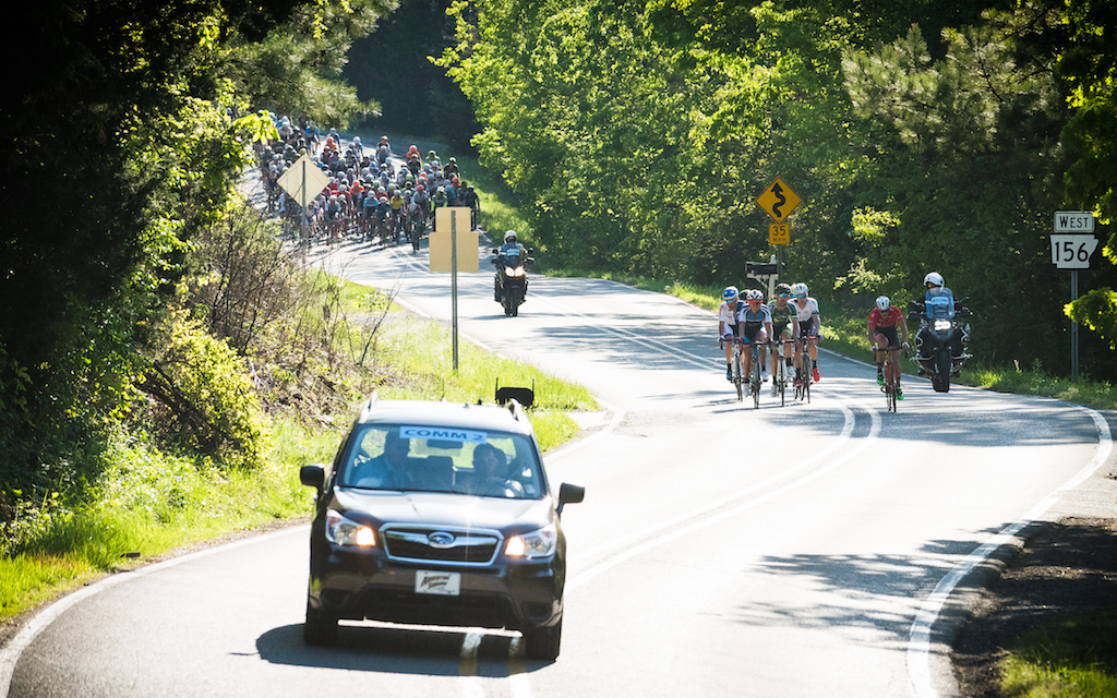 After spending most of Stage 3 off the front, the breakaway was reeled in by a hard-charging field on the final lap of the men's race. Photo: Dejan Smaic.