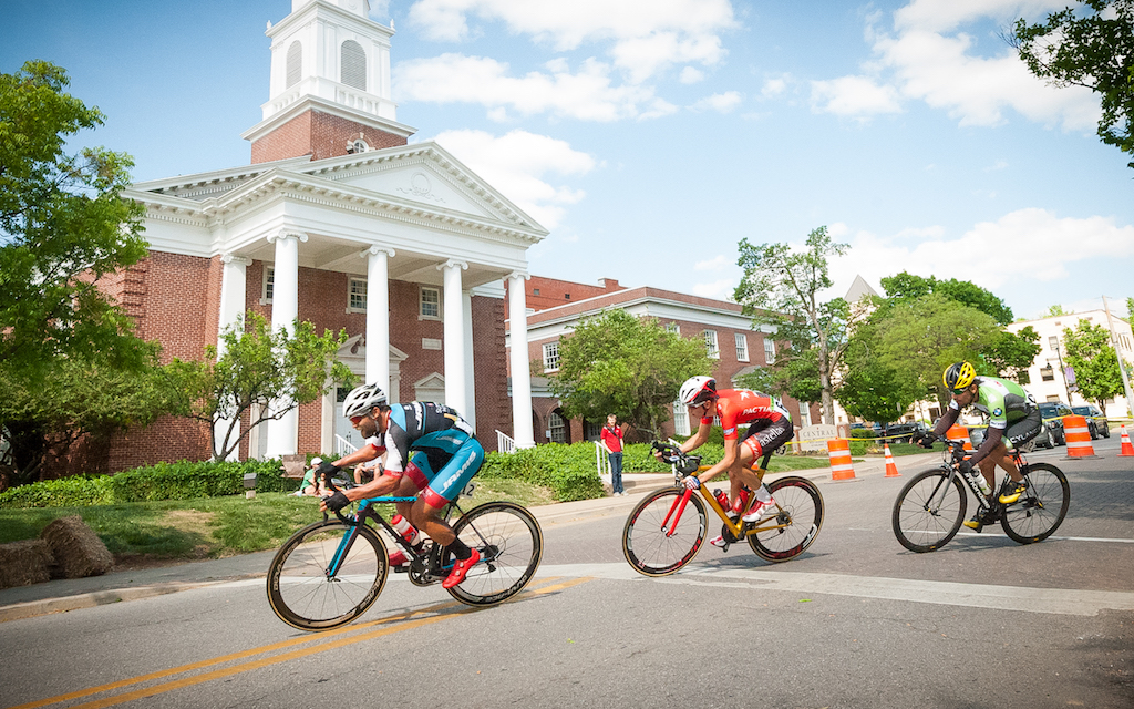 A three-man break, comprising of Eric Marcotte (Jamis-Sutter Home), Dan Gardner (Astellas), and Andres Diaz (Cylance-InCycle) built up a 35-second lead on Stage 4. Photo: Dejan Smaic.