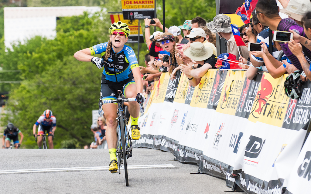 Lauren Stephens (TIBCO) took a hard uphill finishing sprint for the win. Photo: Dejan Smaic.