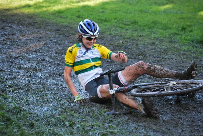 Newly-crowned national champion Lisa Jacobs takes a tumble.