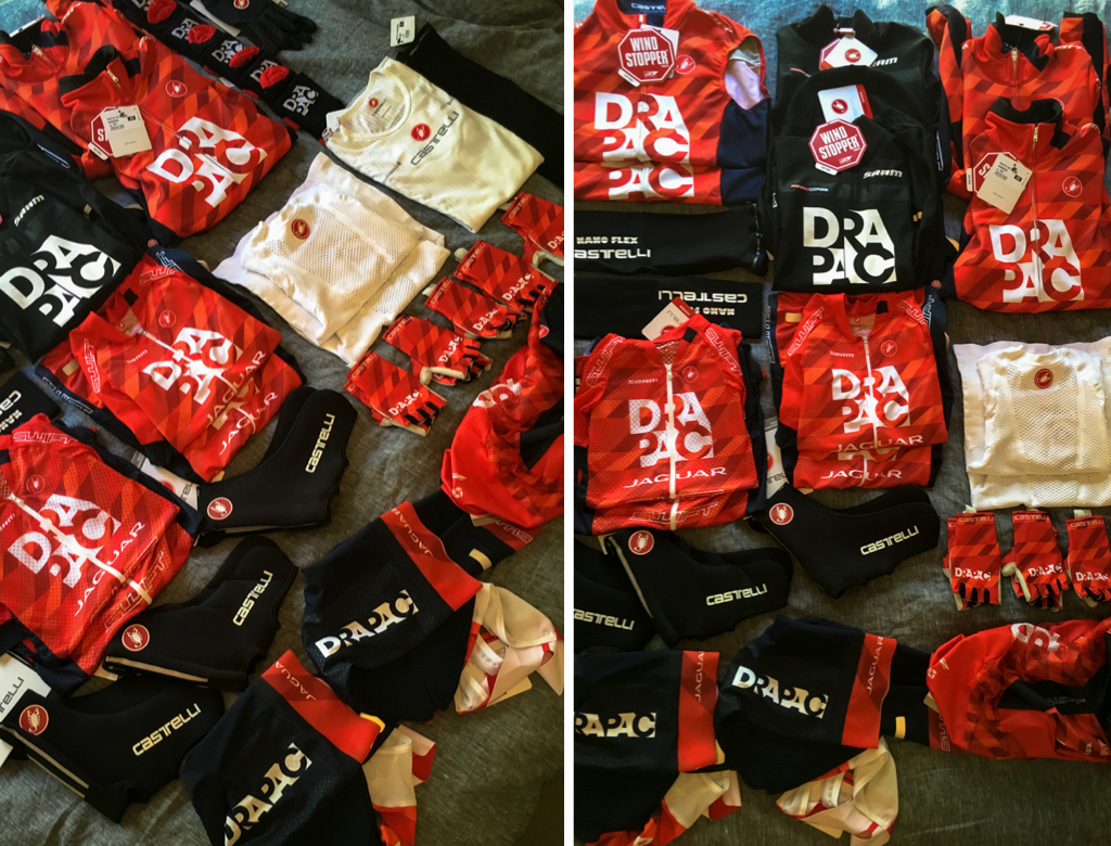 An aray of the Castelli clothing that is supplied to the Drapac guys.