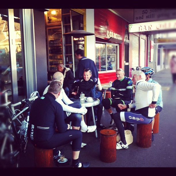 These Sydney guys have figured it out. Coffee before the ride is how it's done (Instagram)