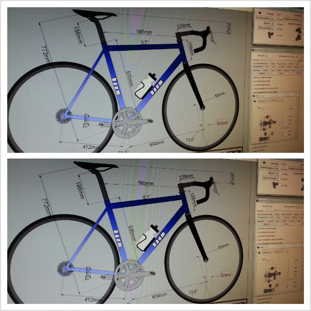 What do u think looks better? Top (top tube angle =0) or bottom (tt angle = 9 degrees)? #buildinganewbike (Instagram)