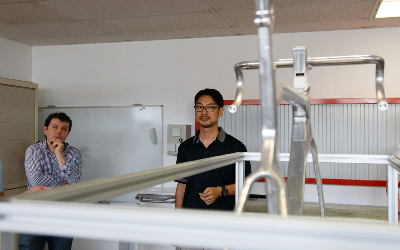 Nixon Huang, Giant's road product manager and aerodynamicist Xavier Gergaud