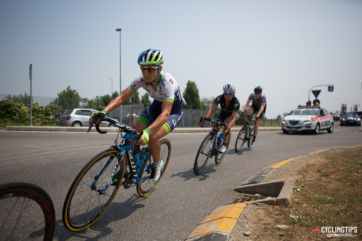 Lizzie Williams (Orica-AIS) is on the attack - again! This three-rider breakaway would soon become four.