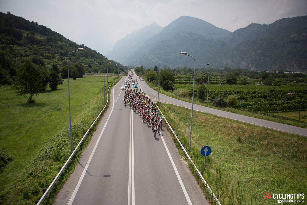 The mountains in the distance foreshadow the summit finish to come. The Giro Rosa moved to the mountains in the second half of the 10-day Italian Grand Tour.