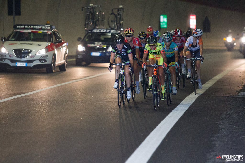 With the lower slopes of the climb fast approaching, a group of 10 riders went clear. The breakaway swelled to nearly 20 riders as the road rose toward the Aprica ski resort.