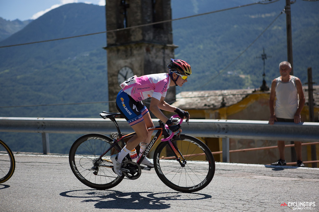 Megan Guarnier (Boels-Dolmans) spent six days in pink in total during the 26 edition of the Giro Rosa. Stage six was her fourth day atop the general classification.