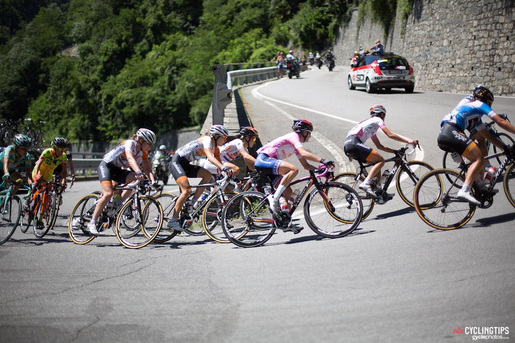 The maglia rosa group was repeatedly reduced over the hilly stage six terrain. Megan Guarnier (Boels-Dolmans) was never under pressure with teammates up the road and by her side.