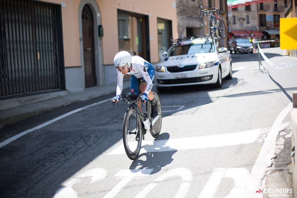 """South African time trial champion Ashleigh Moolman (Bigla) rode what she called """"the best time trial of her life"""" to finish third on the stage to slot into third overall ahead of the final day of racing."""
