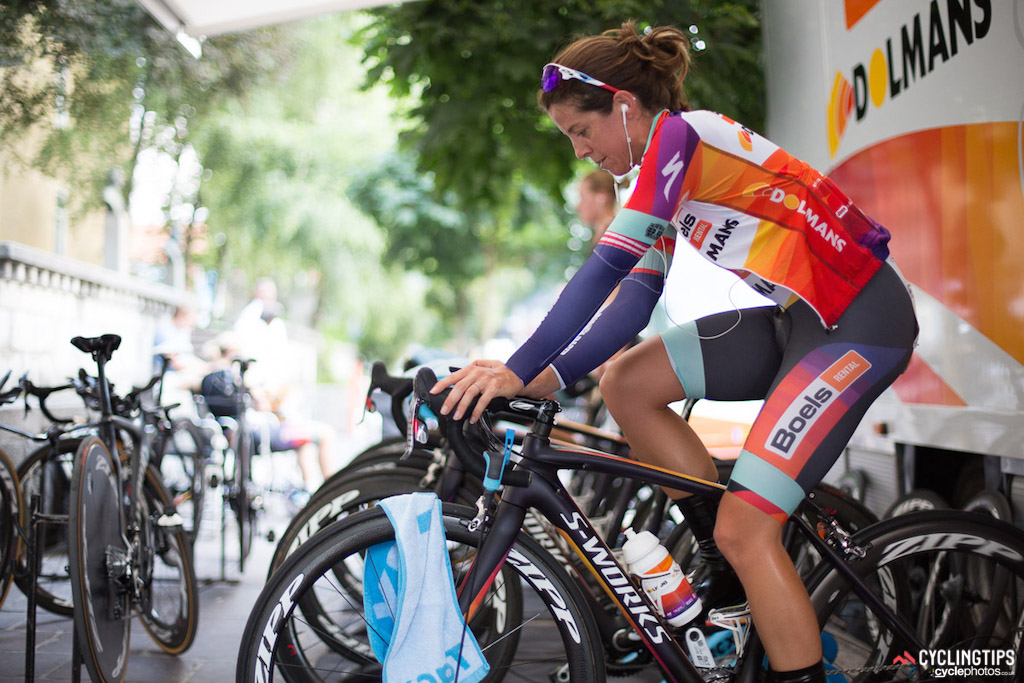 Evie Stevens (Boels-Dolmans) warms up before the evening time trial in Ljubljana, Slovenia. American national time trial champion in 2011, Stevens prefers the longer, hillier time trials over the short, flat, fast ones.