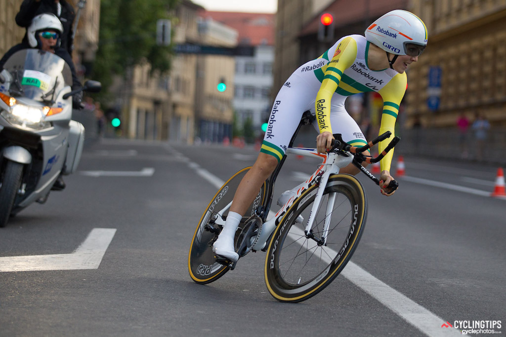 Australian national time trial champion Shara Gillow (Rabo Liv) navigates one of the corners on course.