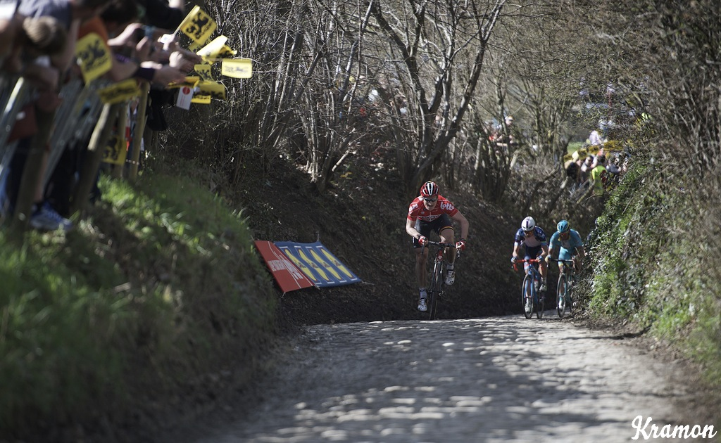 Greipel is first up the infamous Koppenberg after attacking from the breakaway.