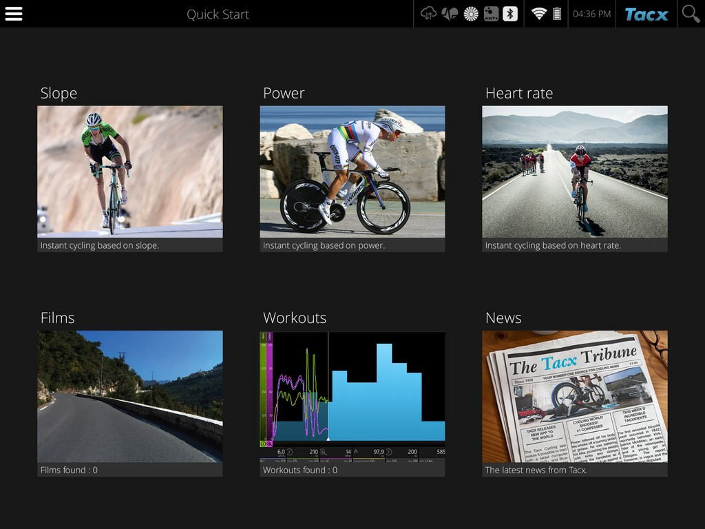 The home screen of the Tacx Cycling app.
