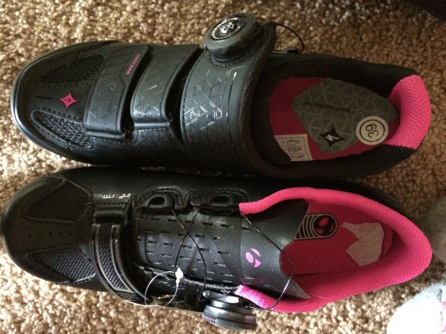 Popular women's colour scheme: black with pink highlights. Pictured: Specialized Motodiva (top), Bontrager Anara (bottom)