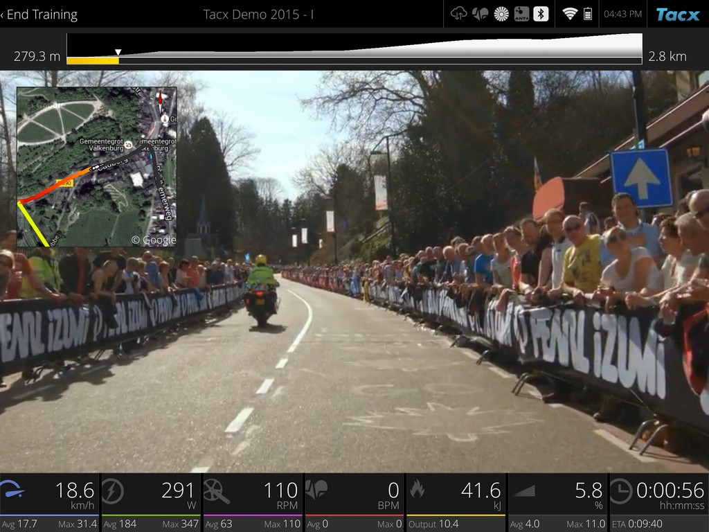 Climbing the Cauberg in one of the short Tacx Cycling app demo films.