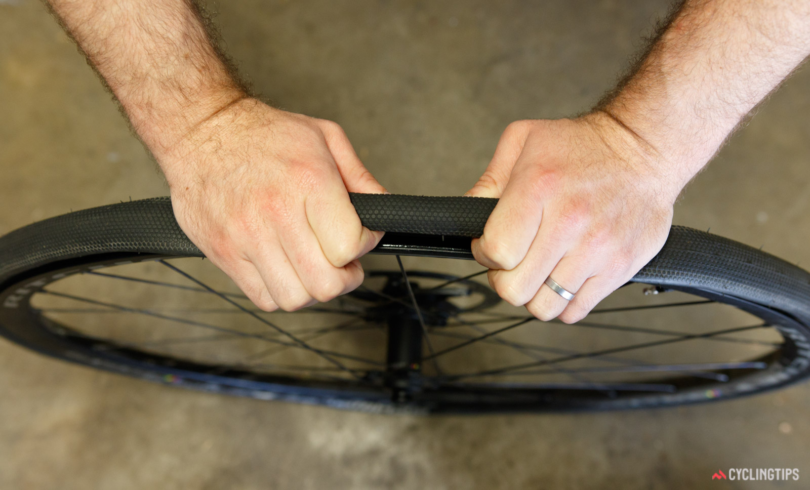Pinching the tyre into the central channel is a key tip