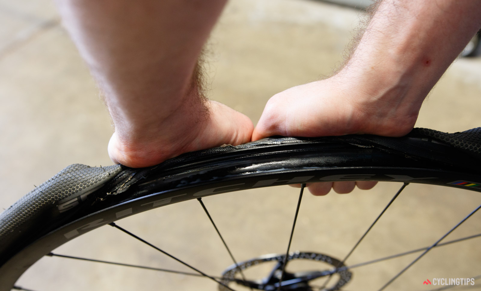 For taller tyres, you can use your palms for greater grip