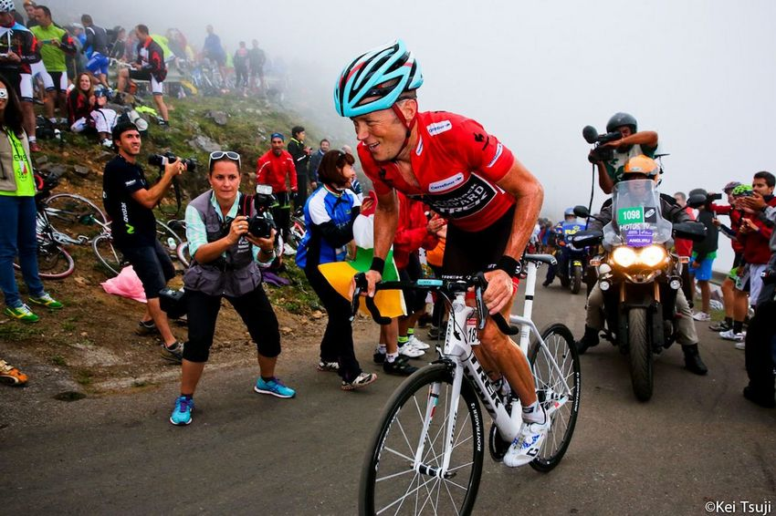 Chris Horner on the Angliru in the 2013 Vuelta.
