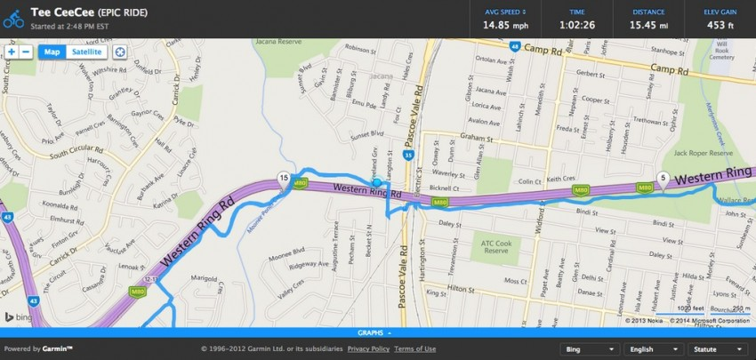 With the Edge 1000 connected to your smartphone via Bluetooth Smart, you open up the Garmin Connect smartphone app and start LiveTrack. You can then send the link to people via email or via social media and they'll be able to see a map like the above. The map seems to update every 30 seconds or so.