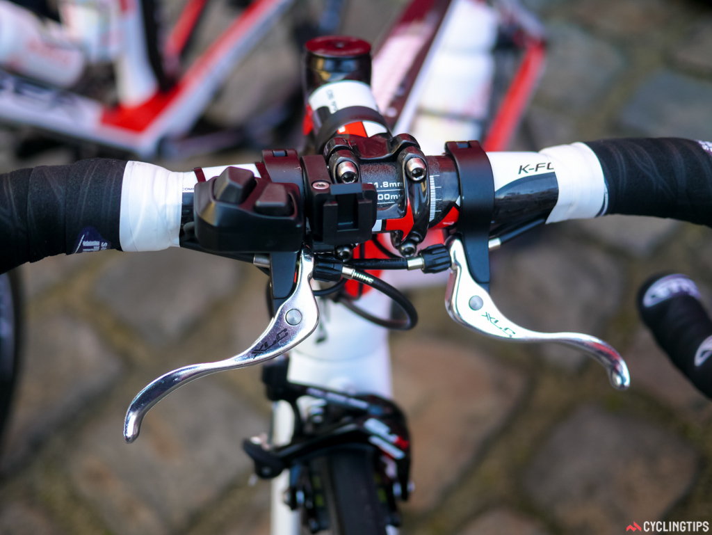 Another odd Cofidis set up with brake levers and a Di2 satellite shifter mounted on top.